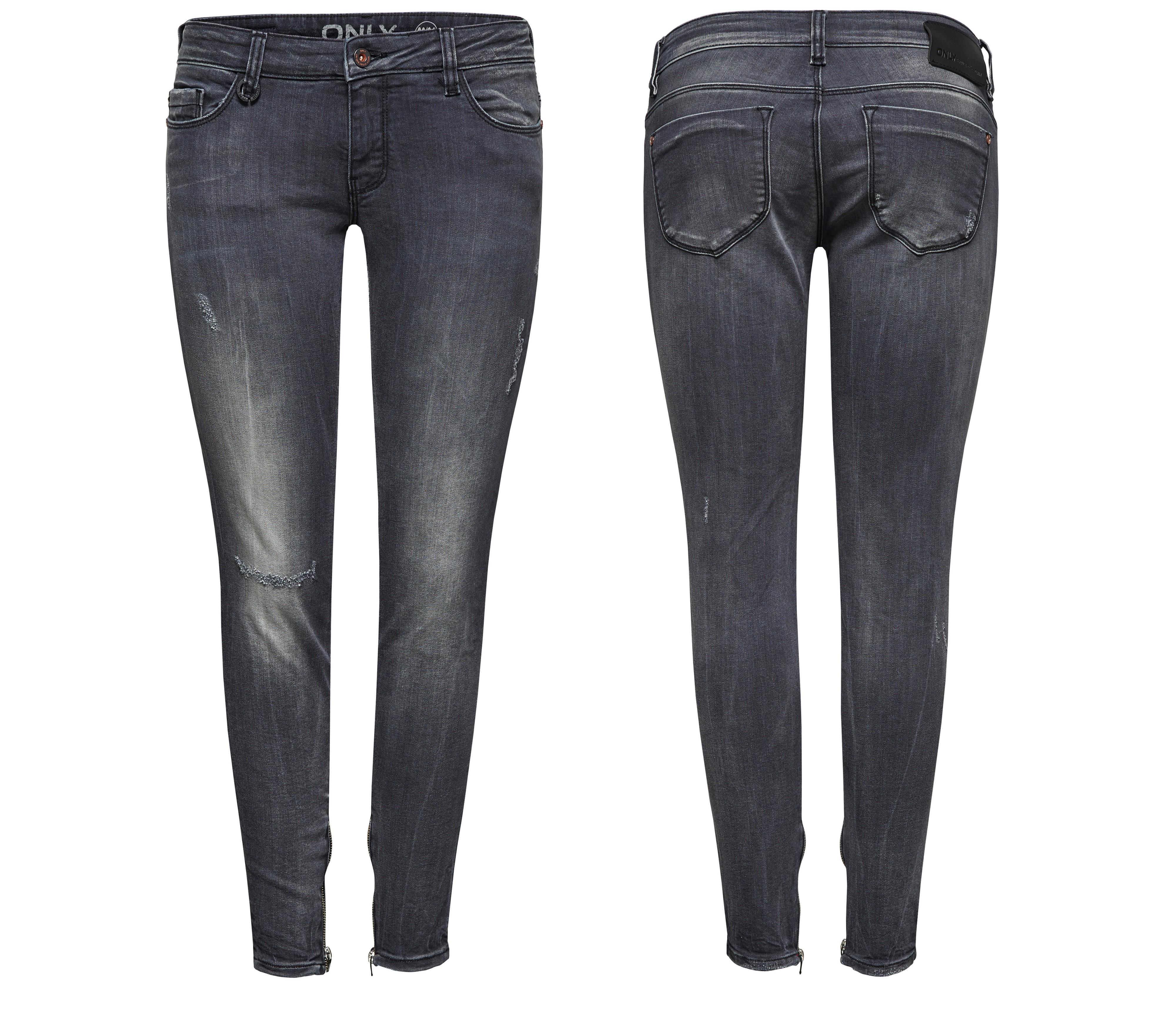 only damen jeans hose carrie low sk ankle zip denim grau. Black Bedroom Furniture Sets. Home Design Ideas