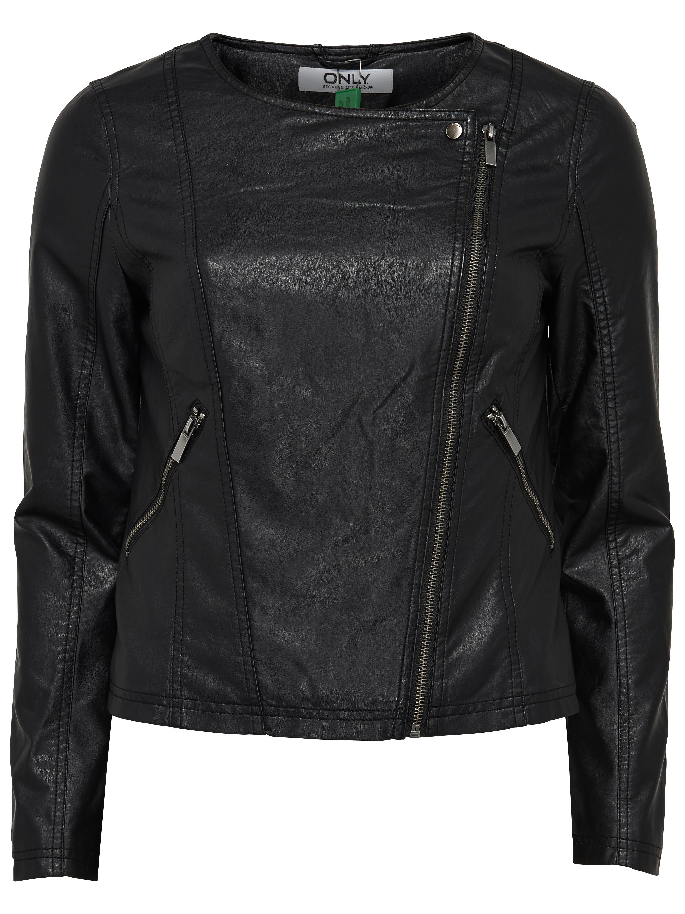 only damen lederjacke jacke jana cropped pu biker jacket schwarz creme kunstleder marken only. Black Bedroom Furniture Sets. Home Design Ideas